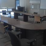 Conference Table: 25 x 15 ft. Real walnut wood with bull nosed edge, recently refinished conference table. Easily accommodates 22 full sized coference room chairs.  $3500.00